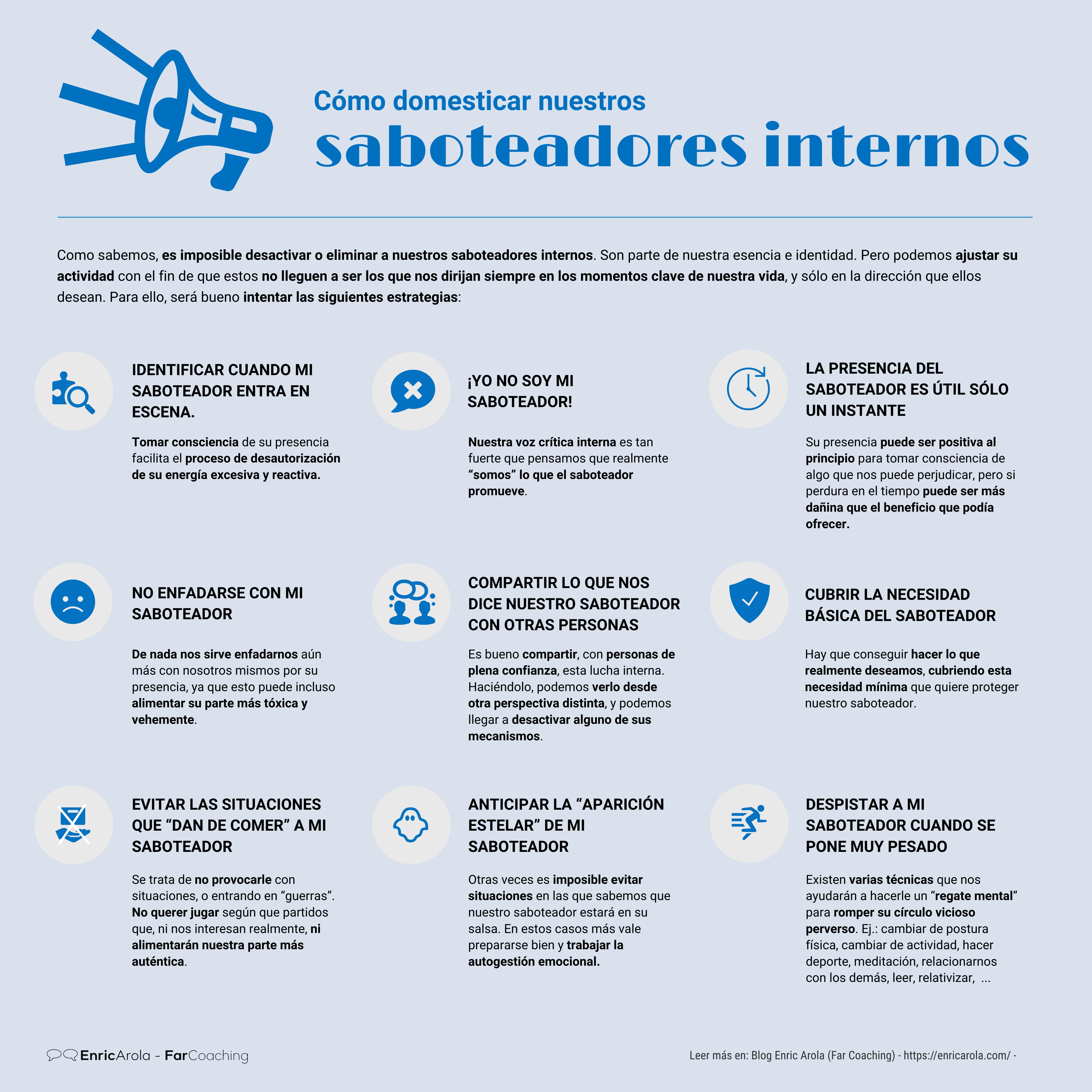 Infografía Cómo domesticar nuestros saboteadores internos